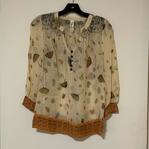Anthropologie Floreat Raining Pouring Blouse
